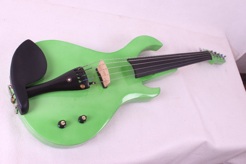 green color big pick up 5 String Electric Violin New 4/4 Flame guitar shape Solid wood Powerful Sound fret 5-38#(China (Mainland))
