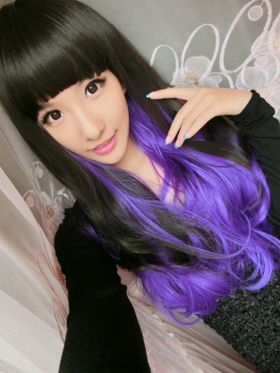 1PC+Free Shipping Two Colors Synthetic Wig perfumes and fragrances of brand originals Cosplay wigs Ombre Hair Wigs Free Gift(China (Mainland))
