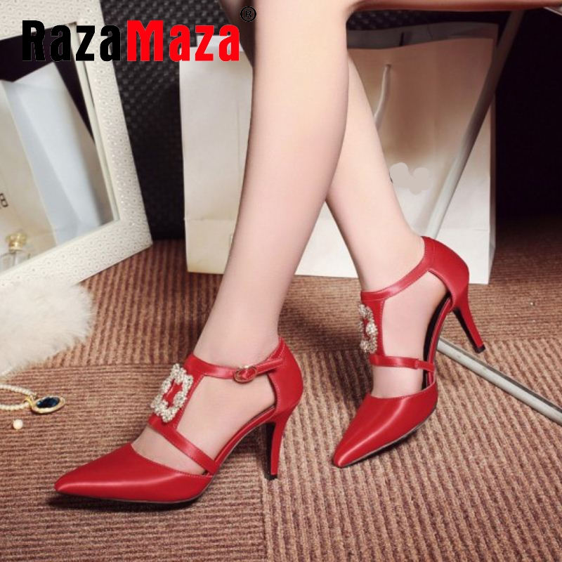 women real genuine leather cross strap thin high heel sandals brand sexy fashion party footwear heeled shoes size 34-39 R08728<br><br>Aliexpress