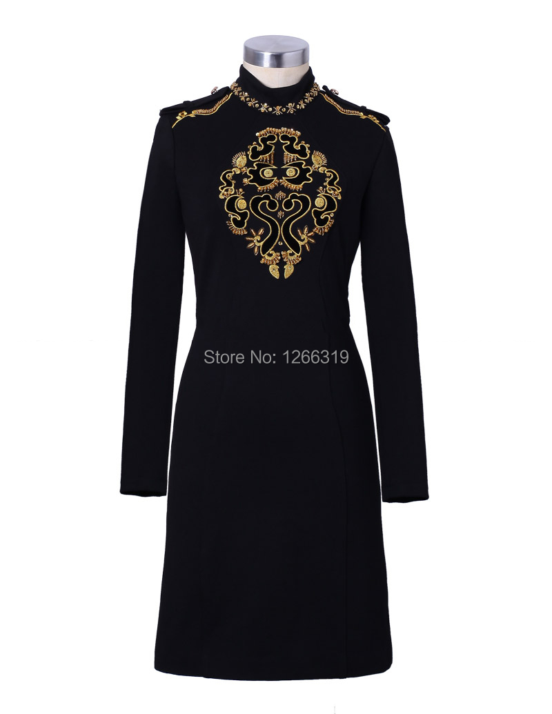 Runway Autumn Winter Women Workwear Dress Long Sleeve Dresses Vintage Black Golden Embroidery Bead Luxury Party Dress NS134