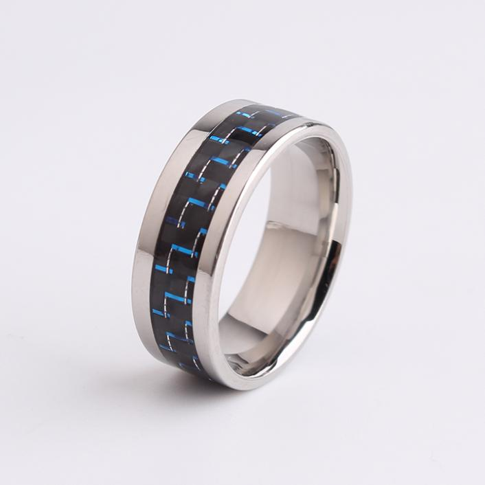 8mm blue Carbon fiber 316L Stainless Steel finger rings for men wholesale Free shippingTING jewelry(China (Mainland))