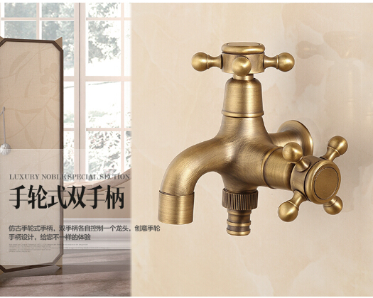 New Antique Bronze total brass double use washing machine faucet,garden & Bathroom Wall Mounted basin faucet with cross handle(China (Mainland))