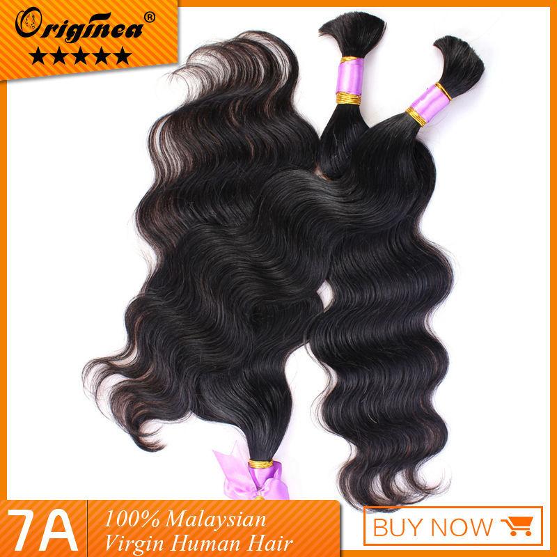 3pcs lot 7A Malaysian Natural color soft,body wave virgin Bulk hair for braiding malaysian hair, Virgin human hair braiding(China (Mainland))