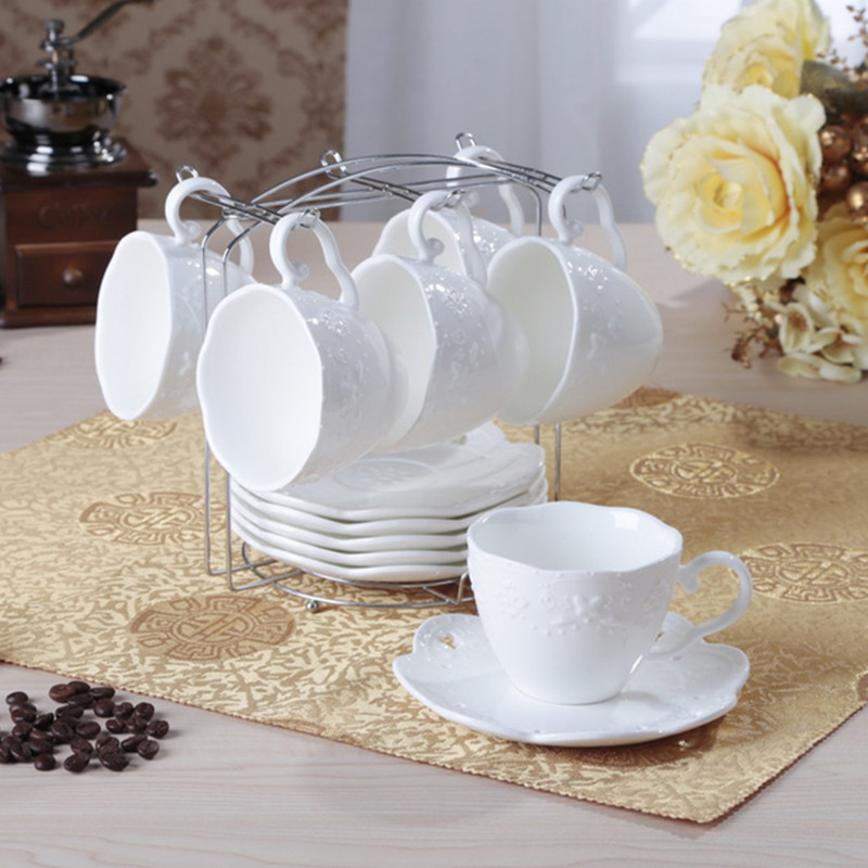 Embossed bone china fashion lace cutout coffee cup lovers coffee cup tea cup set spoon(China (Mainland))
