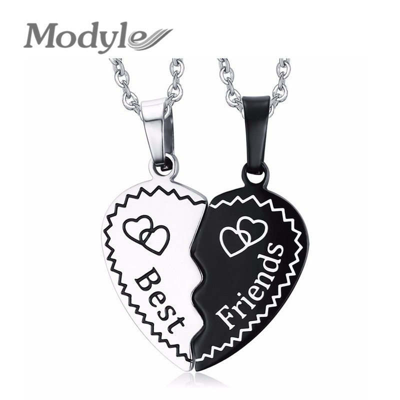 Modyle 2016 Trendy Best Friend Gift Bijoux Heart Pendant Necklace Stainless Steel Chain Statement Necklace For Men and Women(China (Mainland))