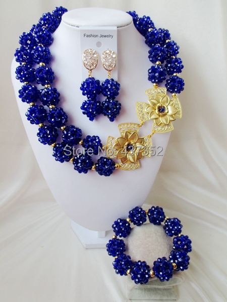 Fashion Nigerian African Wedding Beads Jewelry Set Royal Blue Crystal Necklaces Bracelet Earrings CPS-971 - Alisa's DIY Store store