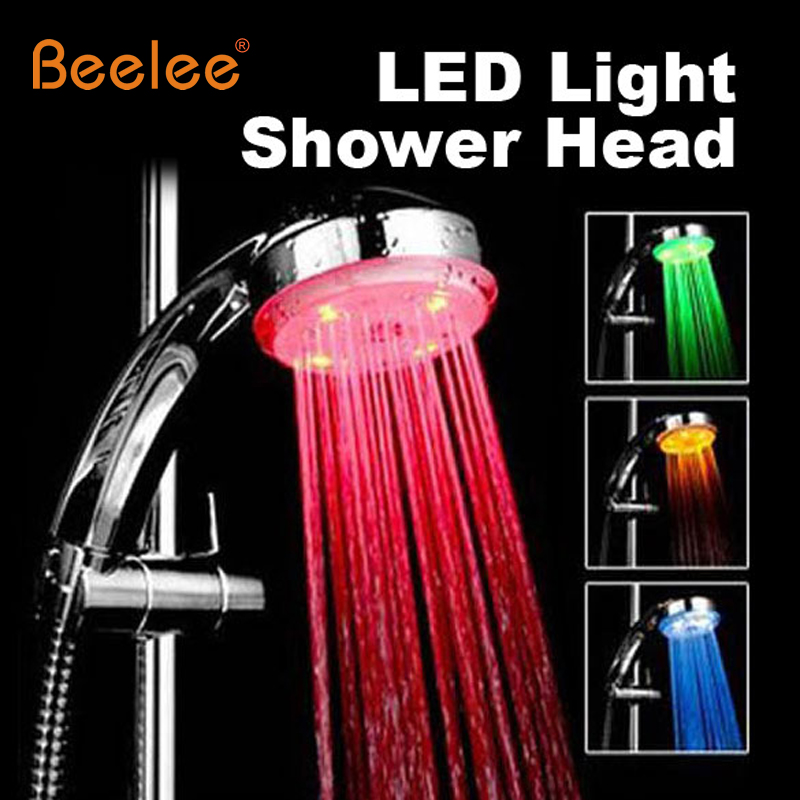 Beelee 3Color Changing LED Light Shower Head Sprinkler Automatic Control Bathroom Shower Head Water Saving Round LED Hand Shower(China (Mainland))