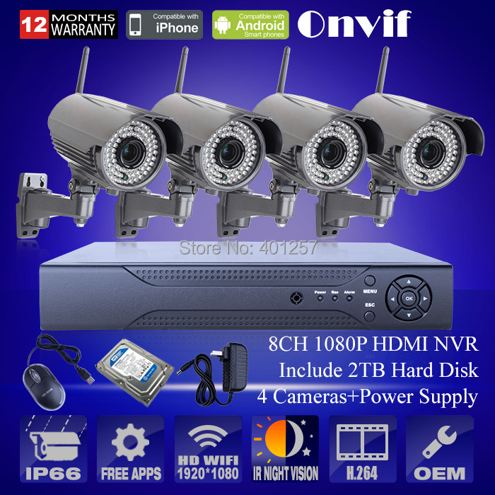 1080P HD Waterproof Zoom 2.8mm-12mm Wireless WIFI IP Camera Security CCTV System Onvif 8CH H.264 NVR Video Recorder 2TB HDD(China (Mainland))