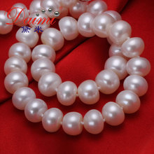 High Quality Genuine Pearl Necklace  9-10mm Natural Freshwater Pearl Necklace Wholesale(China (Mainland))