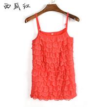 Hot Sale  Women Ladies Summer Fashion Sleeveless Strap Sexy Chiffon Multilayer Tank Tops  lace sparkling rhinestones Plus Size(China (Mainland))