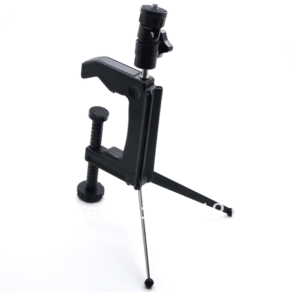 Swiveling clamp tripod desktop mini C-Clamp tripod stand spider for camera camcorder DSLR Free Shipping hPyj(China (Mainland))