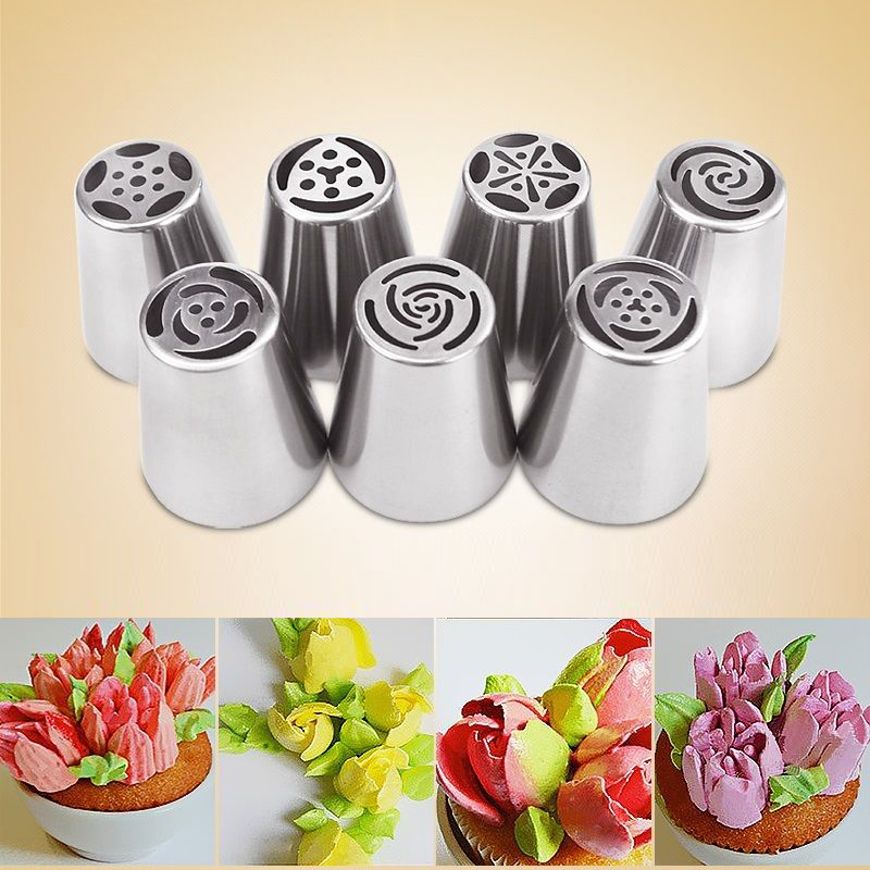 What Cake Decorating Tips Make What : 7PCS Russian Icing Piping Nozzles Tips Cake Decorating ...