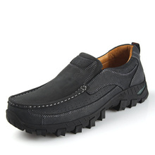 New 2016 Men Leather Shoes Casual Leather slip on Shoes Black Brown Flat Leather Loafers Oxford shoes Plus sizes boat shoes men(China (Mainland))