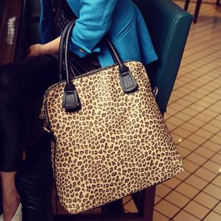 2013 New fashion casual leopard print bags one shoulder handbag women's handbag leather messenger bag