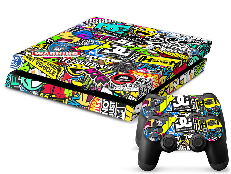 New Custom STICKERBOMB Skin Sticker For Sony PS4 Playstation 4 Console & 2 Controller Skins(China (Mainland))