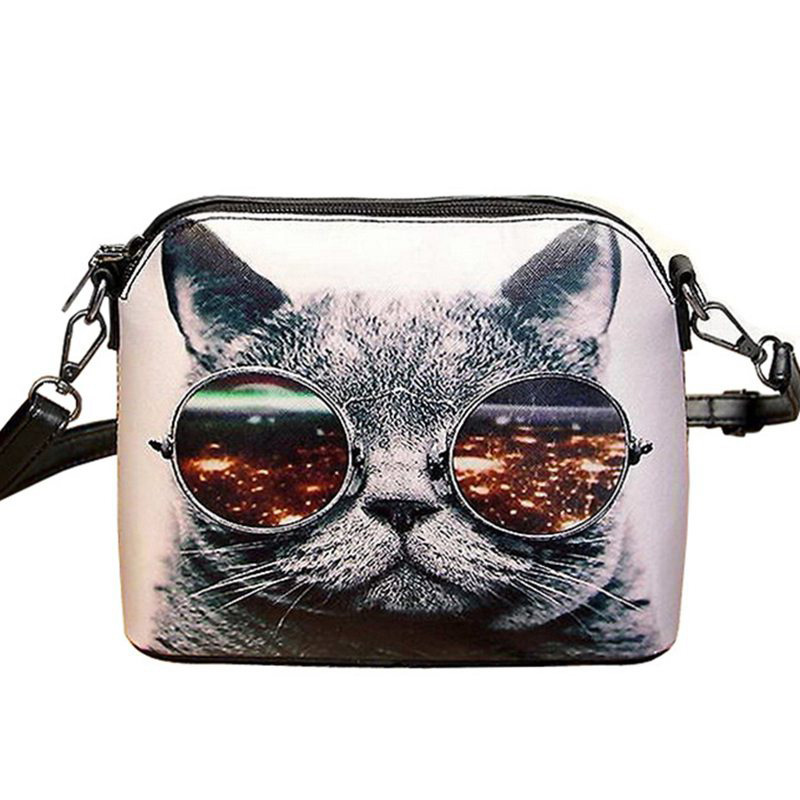 Small Casual Women Cat Animal Printed Shell Style Messenger Bags PU Leather Lady Cut Printing Shoulder Bags WZ129(China (Mainland))
