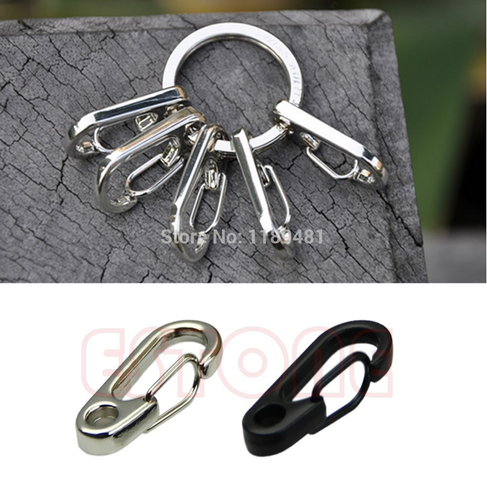 F85 Free Shipping 4pcs/lot Stainless Steel Split Keychain Key Ring Clasps Clips Hook(China (Mainland))