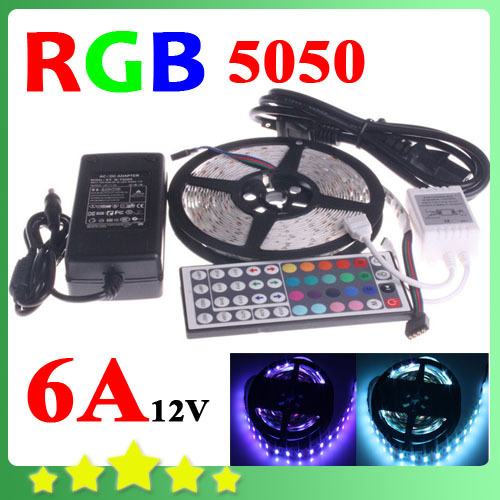5050 RGB LED Strip Flexible Light 5M 300 Led SMD 44 Keys IR Remote Controller 12V 6A Power Adapter Free Shipping Blue  White<br><br>Aliexpress