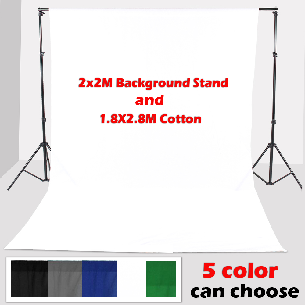 Фотография 2*2m Backdrop Support  With 1.8*2.8M Photo Lighting Studio 100% Cotton screen Muslin White Background Backdrop