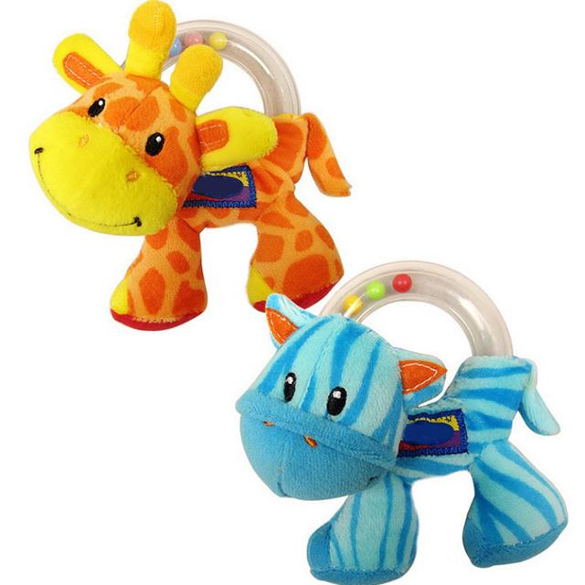 Новый 1 шт. детские игрушки симпатичные плюшевые погремушка ребенок проведение игрушки животных кольца шарики раннего образовательных кукла