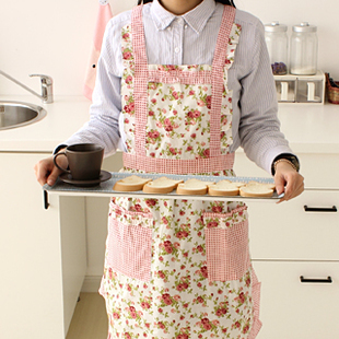 New Pastoral Floral Printed Cotton Kitchen Apron Protective Clothing,,2,Gift - lisa ling's store