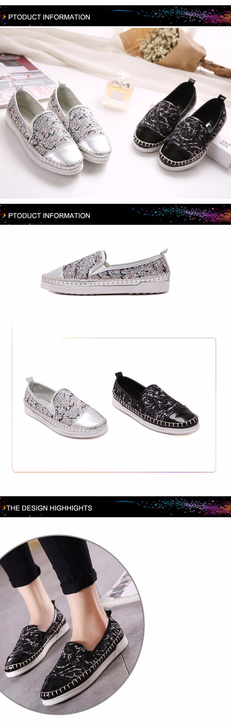 NEW 2016 Spring Fall Glitter Style Brand Women Snakes Loafers Flats Shoes Woman Casual Slip on Platform a Pedal Lazy Shoes M1.5