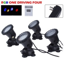 4 in 1 led rgb luce carro armato di pesci rocaille riflettore impermeabile piscina stagno lampade led light acquario garden spot light(China (Mainland))