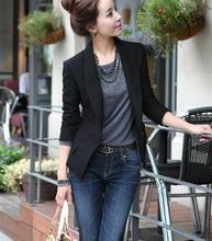 Terbaru OL Wanita Fashion Slim Mantel Blazer Wanita Lengan Panjang Jaket Lebih Tahan Dr Hitam Blazer Plus Ukuran(China)