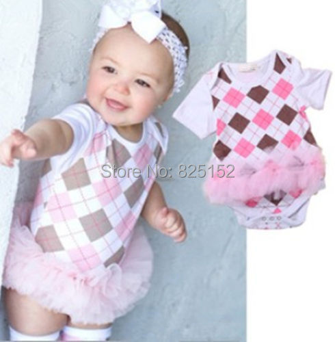2pcs Infant Baby Newborn Girl Bowknot Headband+Romper Plaids Bodysuits Tutu Clothes Outfits white Pink Summer Baby girl Rompers(China (Mainland))