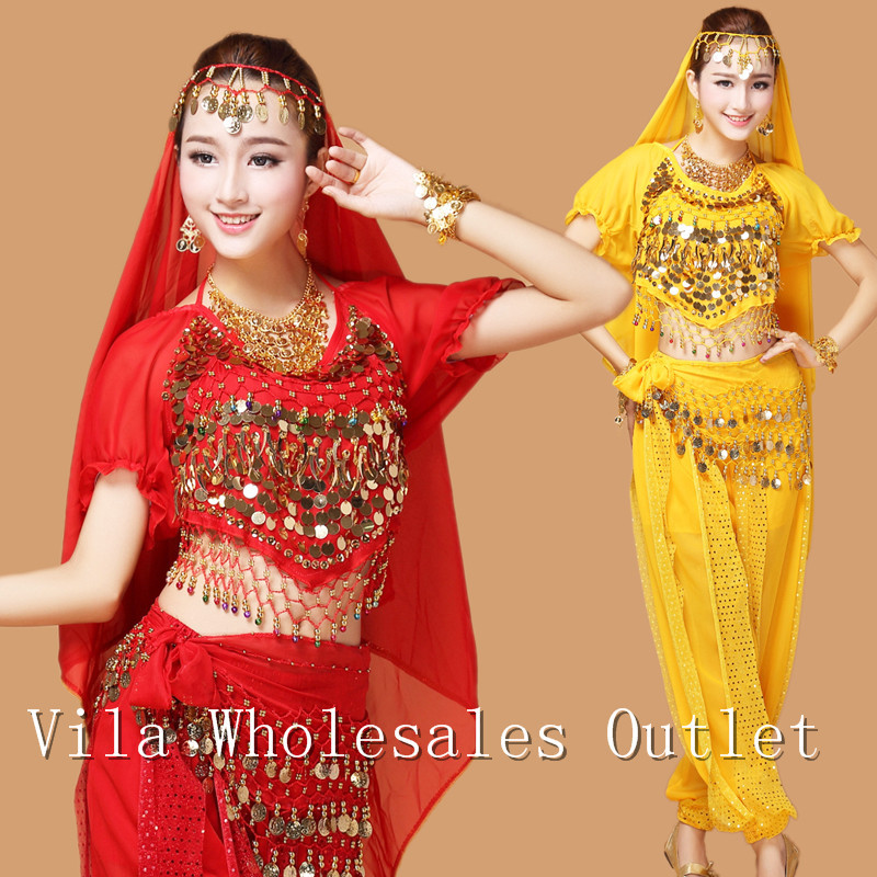 Belly dance clothes costume belly dance set indian dance wear 7pcs Top&Pant&Belt&Veil&Necklace&Bracelet&Earrings,6 colors VL-300