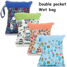 1PC Reusable Waterproof Printed PUL Diaper Wet Bag Double Pocket,Cloth Handle,28x36CM Wholesale Selling(China (Mainland))