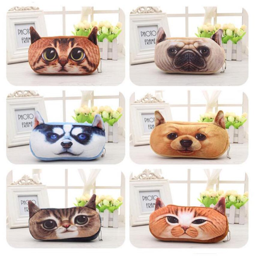 2015 New school pencil bag case lovely new plush stationery 3D animals coins Pouch pen box student prizes for children gift(China (Mainland))