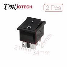 Orificio de montaje 25mm x 21mm 2 Unids/lote CA 16A/250 V 20A/125 V 6 Pin DPDT ON/ON 2 Posición Snap En Barco Rocker Switch Descuento 70