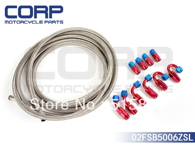 AN6 Stainless Steel Braided Hose + Fitting Hose End Adaptor KIT (AN6)(China (Mainland))