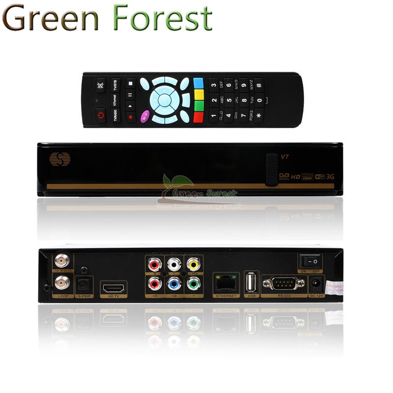 New S V7 Digital Satellite Receiver S V7 S-V7 AV Output VFD Support 2*USB WEB TV USB WIFI 3G Biss Key Youporn CCCAMD(China (Mainland))