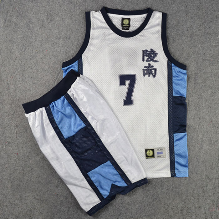 Anime SLAM DUNK Cosplay Costume Ryonan School No. 7 Sendoh Basketball Jersey Tops + Shorts Full Set Suits Team Uniform Navy Blue(China (Mainland))