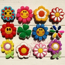 12pcs Cute Small Flower Hello Kitty Cartoon PVC shoe charms Fashion Accessories fit croc Jibz and wristband Party favor gifts(China (Mainland))