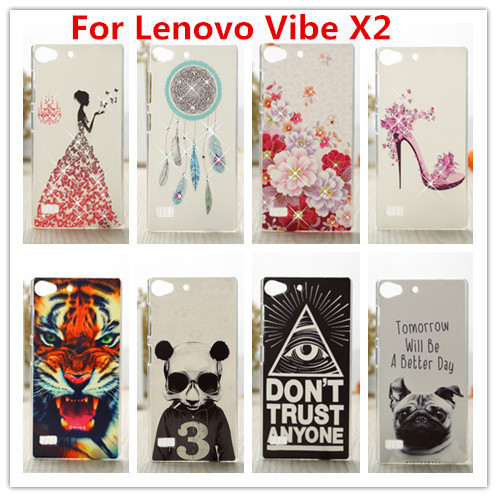 New Lenovo Vibe X2 Case Luxury Crystal Diamond 3D Bling Hard Plastic Case Cover For Lenovo Vibe X2 Cell Phone Case(China (Mainland))