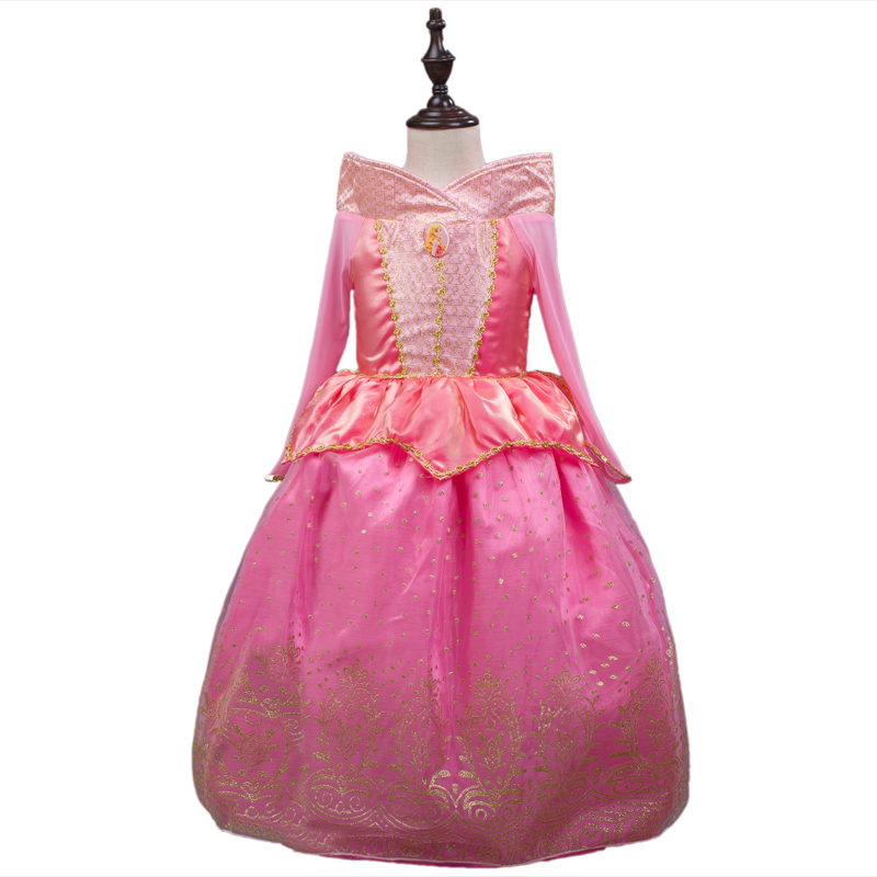 Sleeping Beauty Princess costume spring autumn girl dress 2016 pink Princess Aurora Dresses for girls party Costume free ship(China (Mainland))