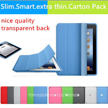 nice quality transparent back case+new flip leather mental magnetic smart cover for apple ipad 4 3 2 case cover slim thin skin(China (Mainland))