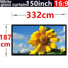 150Inch 16:9 White glass curtain Fabric Matte With 1.3 Gain projection screen Wall Mounted Matt White for all projectors