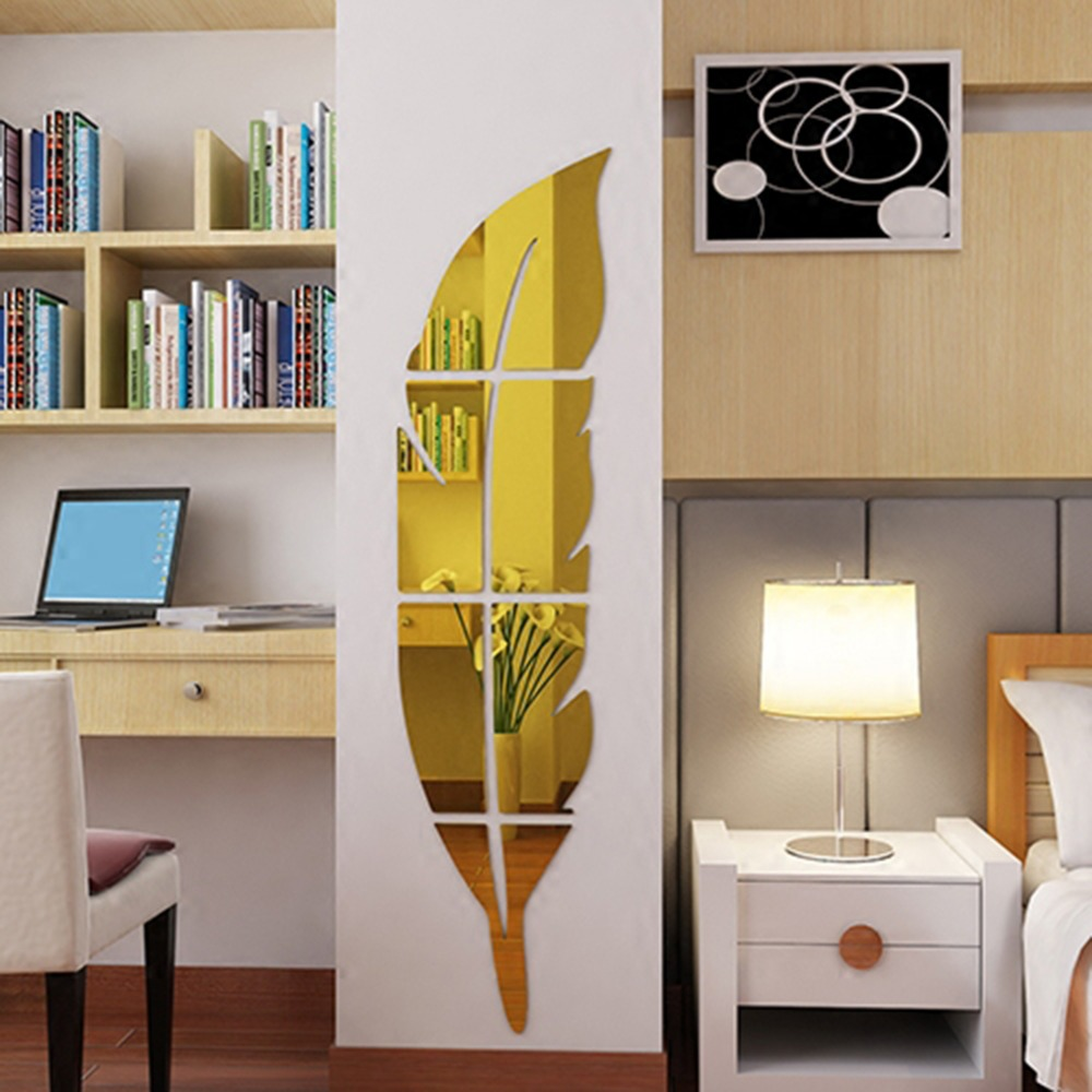 1pc Feather Dressing Mirror Diy Wall Stickers Acrylic