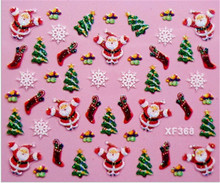 Fashion 3D Design Christmas santa Christmas tree snowflower Tip Nail Art Nail Sticker colorful Nail Decal Manicure nail beauty