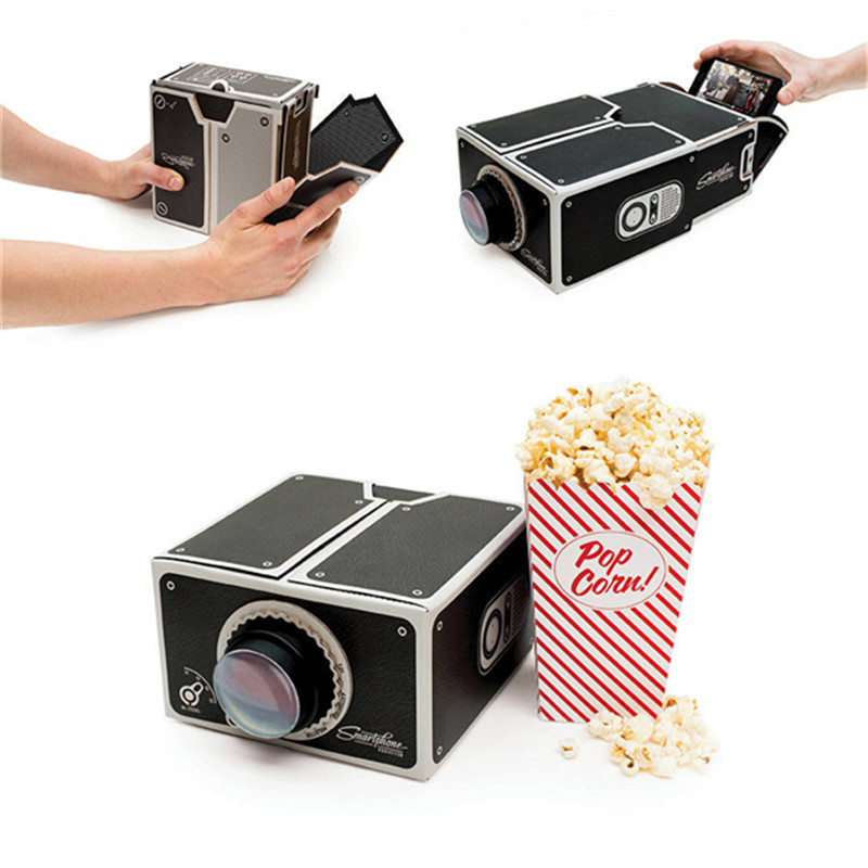 Cardboard mini smartphone projector diy mobile phone for Best portable projector for iphone