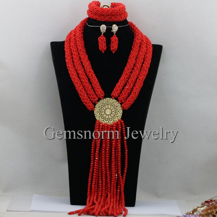 Exclusive Red Nigerian African Wedding Beads Jewelry Set Costume Necklaces Women Jewelry Set Free Shipping WB964<br><br>Aliexpress