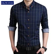 2016 Новая Мода Случайные Люди Рубашка С Длинным Рукавом Бизнес Slim Fit клетчатую Рубашку Мужчины Высокого Качества Мужские Рубашки Мужская Одежда 5XL(China (Mainland))