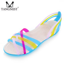 Fashion Gladiator Women's Sandals 2016 Summer Leisure Candy Color Plastic Platform Female Jelly Shoes Size 36~41 XWZ1212