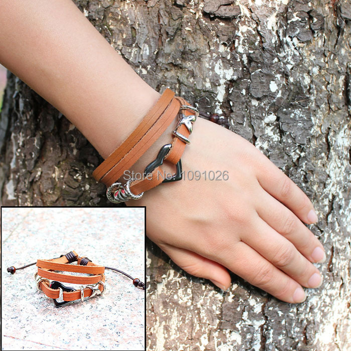 2015 Newest Fashion Women Men Lovers Bracelets Heart Braided Wooden Bead Wrist Bracelet Leather Jewelry Gifts for Christmas(China (Mainland))