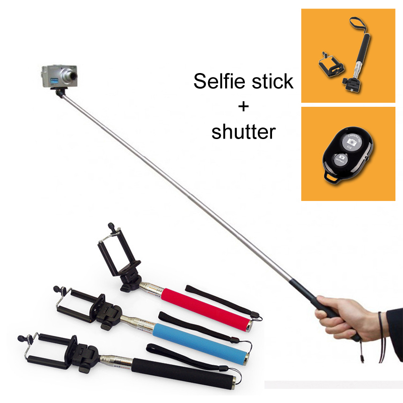 self selfie stick with clamp bluetooth remote shutter pau de selfie palo self. Black Bedroom Furniture Sets. Home Design Ideas