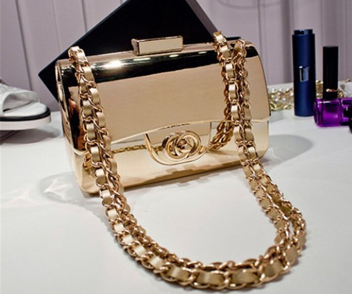 Star with small sweet female bag gold mirror one shoulder bag at hand bag worn chain bag(China (Mainland))